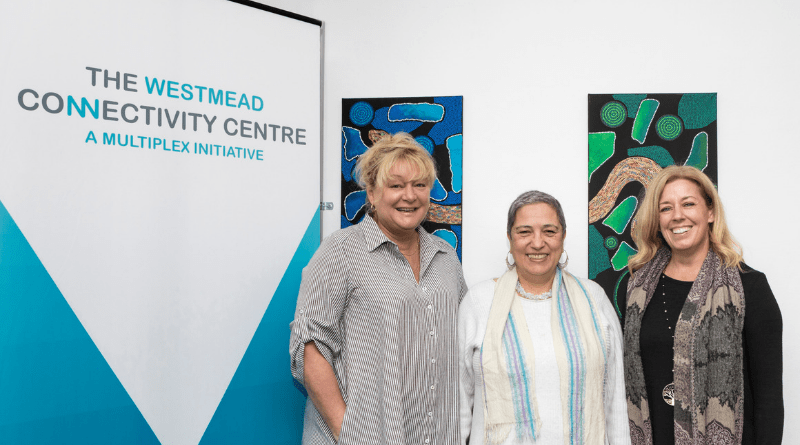 Three women smile to camera in front of pull-up banner and artworks on wall