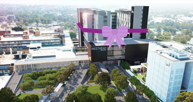 Artist's impression of the new hospital building and a celebratory bow and ribbon