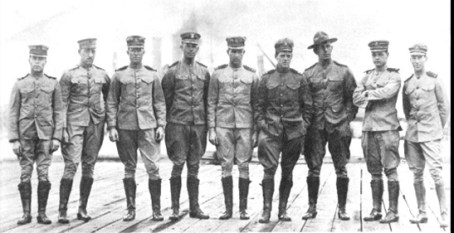 The detachment of naval officers who established the Naval Aeronautic Station at Pensacola, Florida. Henry Mustin is fourth from right.