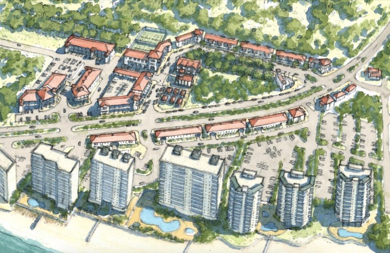 A conceptual rendering of a town center in Perdido Key along Perdido Key Drive. In this option presented in the master plan, 53,000 square feet of retail space and 30 residential townhomes is proposed. (Special to the Pulse)