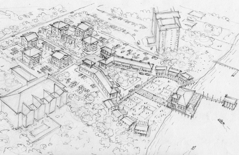 A conceptual rendering of a town center in Perdido Key along River Road on the Intracoastal Waterway (Special to the Pulse)