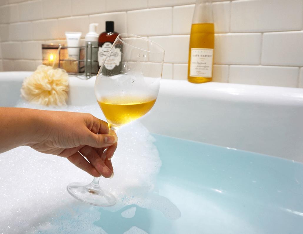 Bubble bath and wine