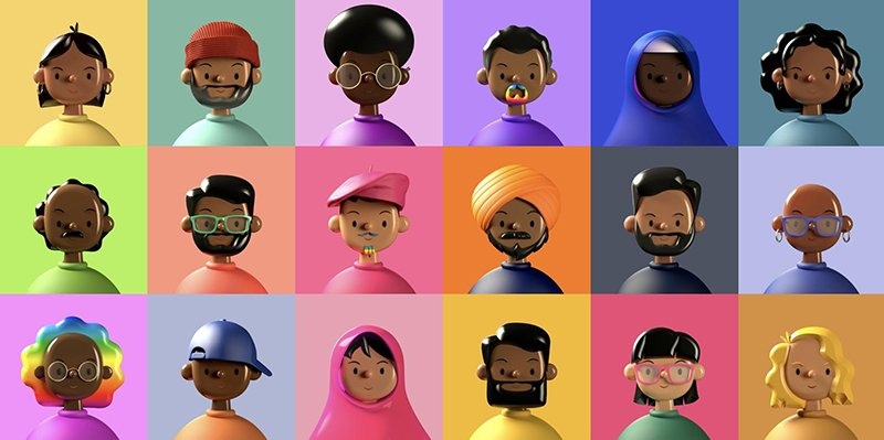 image showcasing characters of various ethnicities and skin tones together in the form of toys.