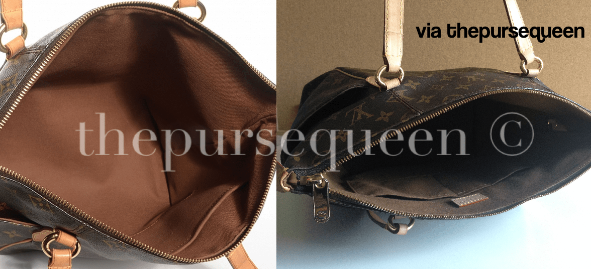 authentic vs replica louis vuitton totally fake vs real lv comparison inside of the bag