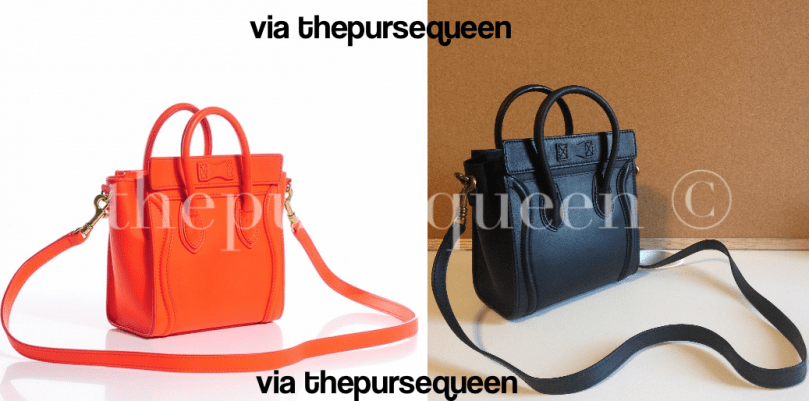 celine nano fake vs real authentic vs replica back of bag
