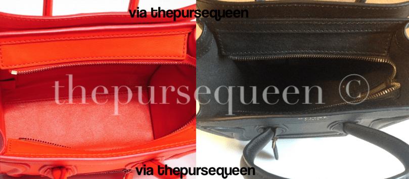 celine nano fake vs real authentic vs replica inside of bag