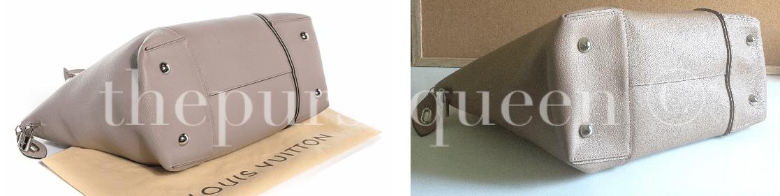 fake vs real LOUIS VUITTON Veau Cachemire Soft Lockit MM bottom of bag