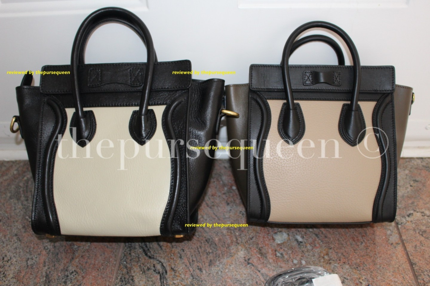 celine nano side by side comparison #celine #nano #tricolor #authentic #real #fake #replica