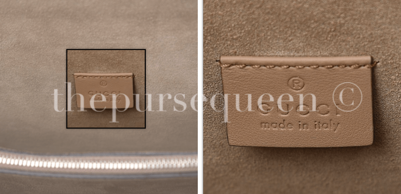 gucci interior tag stamping fake vs. real authentic vs replica