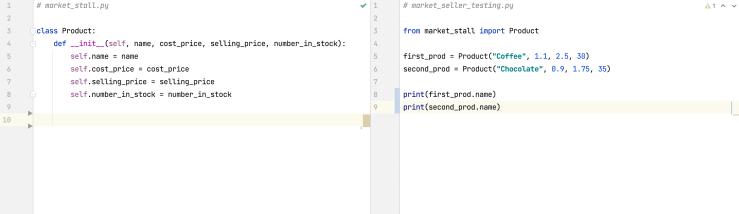 Split screen setup in PyCharm IDE for object-oriented programming