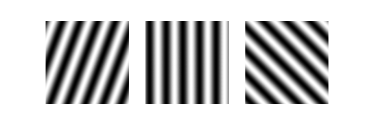 Sinusoidal gratings with different orientations, used in 2D Fourier transform in Python article
