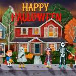 halloween vector with kids trick or treat