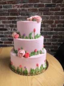 pink three tier cak