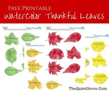Water Color Fall Thankful Leaves Free Printable