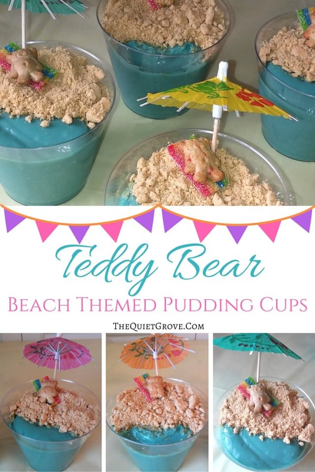 Teddy Bear Beach Themed Pudding Cups