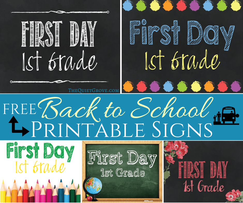 graphic relating to First Day of 1st Grade Printable identified as 5 Absolutely free Back again towards University Printable Signal Sets ⋆ The Serene Grove