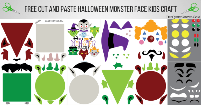 Cut And Paste Halloween Monster Face Kids Craft Free Printable
