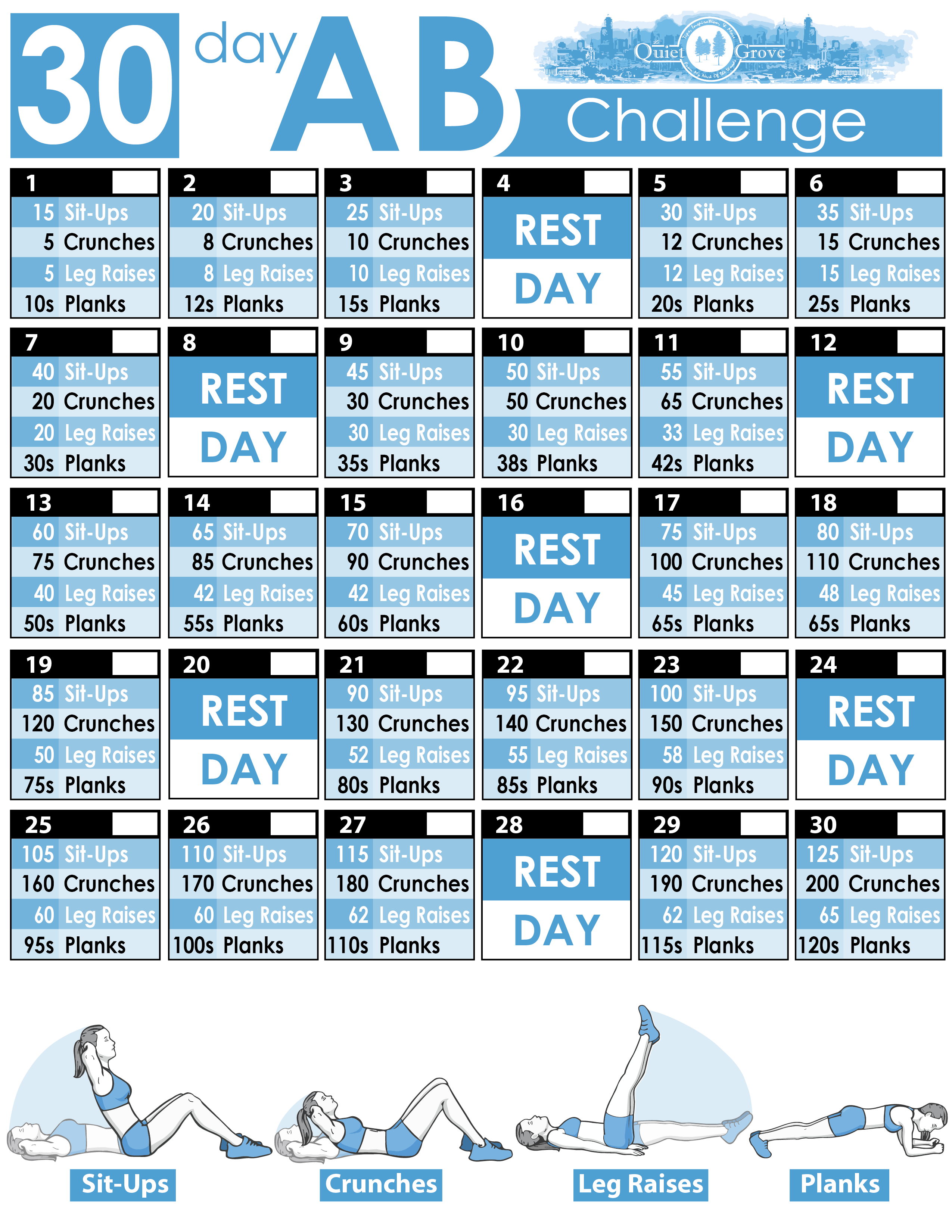 photo about 30 Day Abs Challenge Printable named 30-Working day AB Difficulty (With Cost-free Printable) ⋆ The Calm Grove