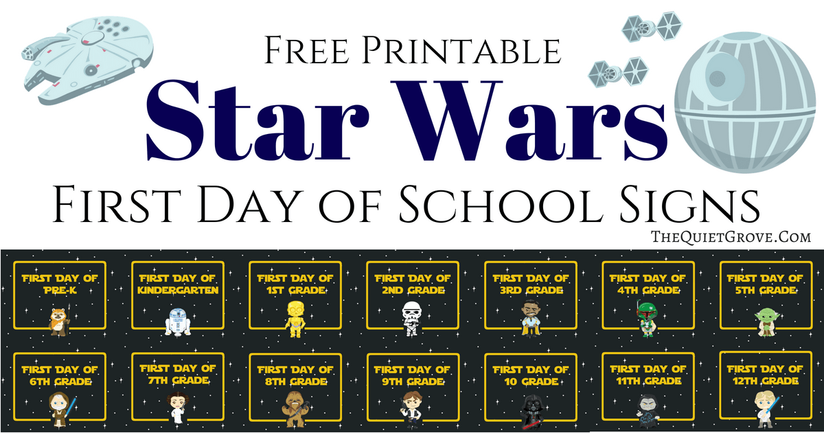 photograph about First Day of 1st Grade Printable Sign named Cost-free Printable Star Wars 1st Working day of Higher education Symptoms ⋆ The
