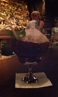 Coconut Ting cocktail. And my new Scottish friend in the background.
