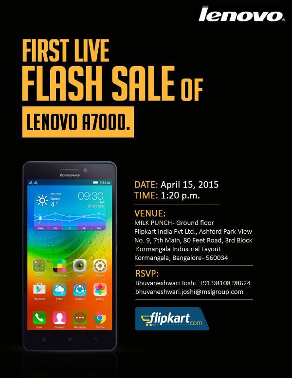 Lenovo_First Live FLash Sale at Flipkart Invite