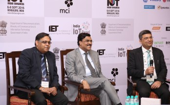 Shri JS deepak secretary - Ministry of Telecommunications along with Shekhar Sanyal and Dr Rishi Bhatnagar at the event