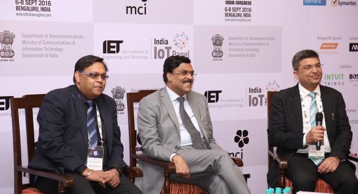 Shri JS deepak secretary - Ministry of Telecommunications along with Shekhar Sanyal and Dr Rishi Bhatnagar at the event
