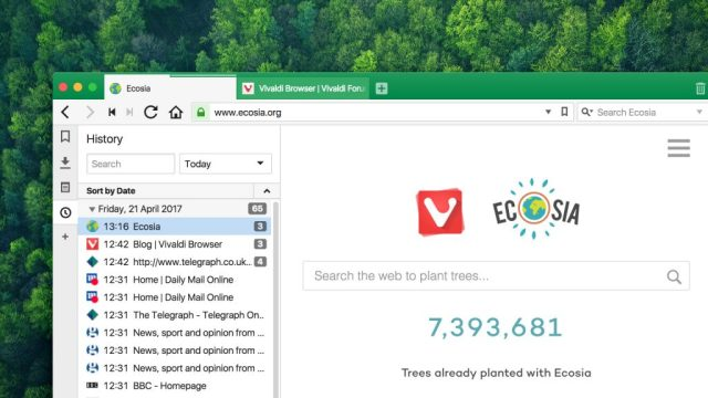 Vivaldi and ecosia