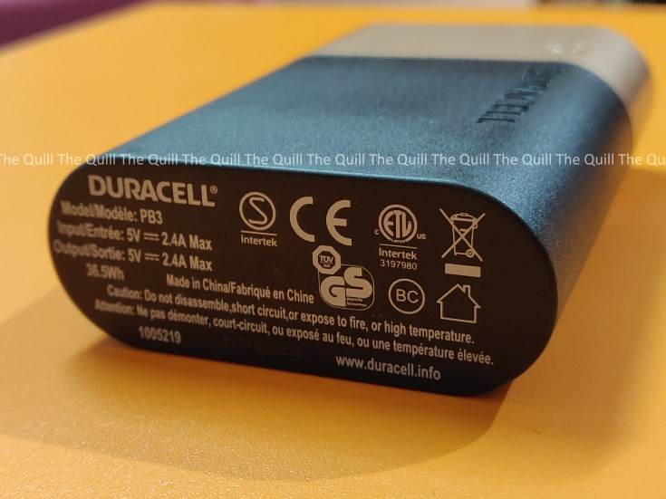 Duracell Power Bank Rear View