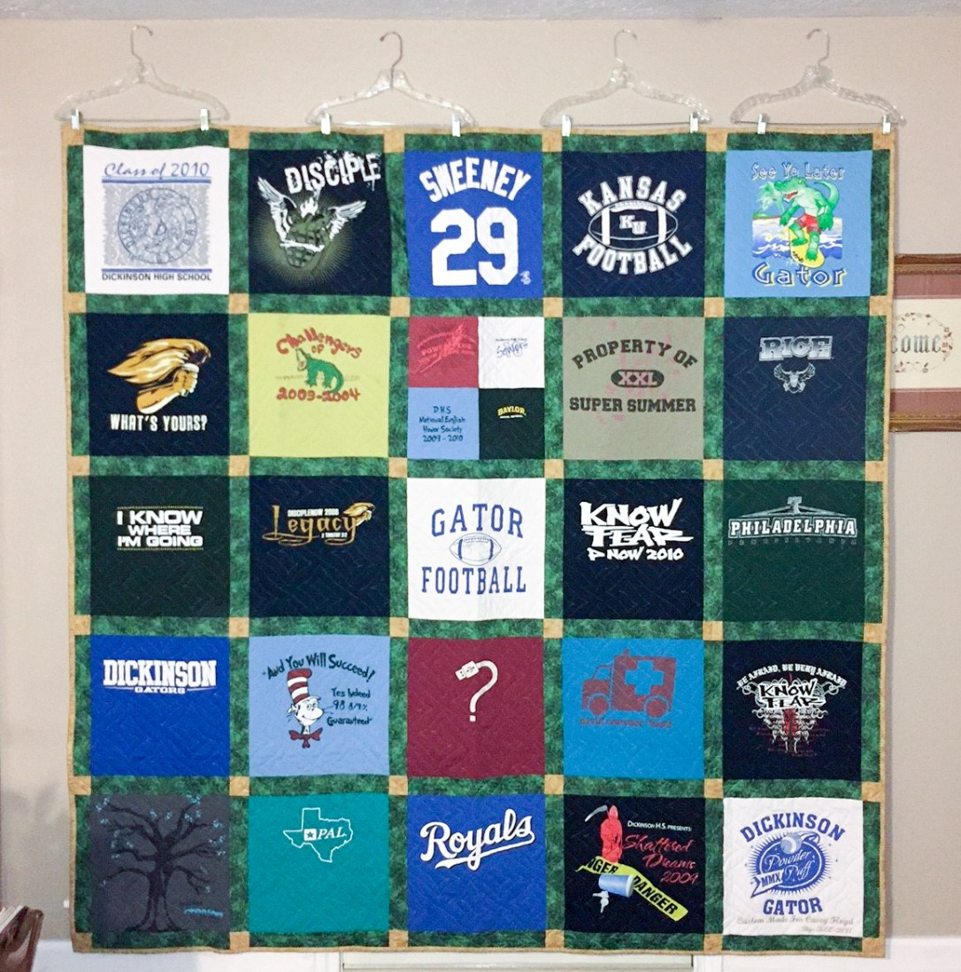 Queen size t-shirt quilt made from 25 shirts t-shirt quilt made from high school spirit shirts