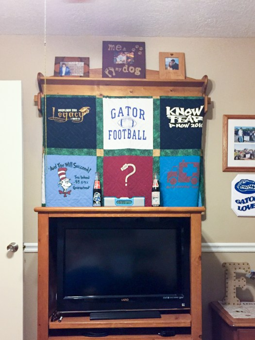 T-shirt quilt on display
