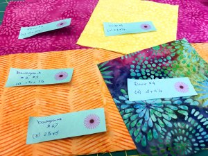 bright fabrics chosen for a new quilt project