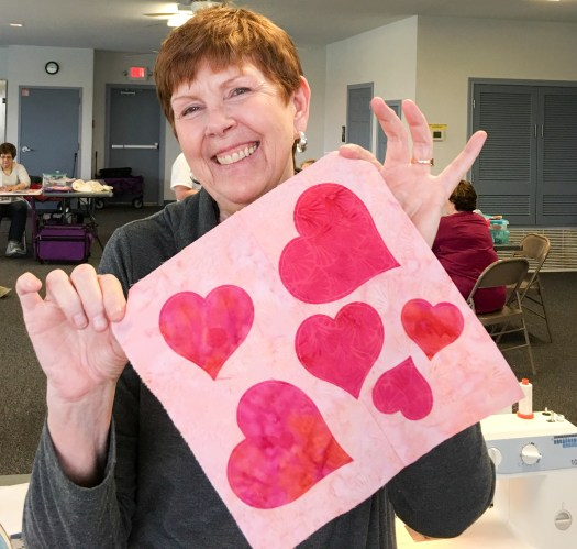 Shirley used the heart die from the GoCutter for her Galentine's Day block
