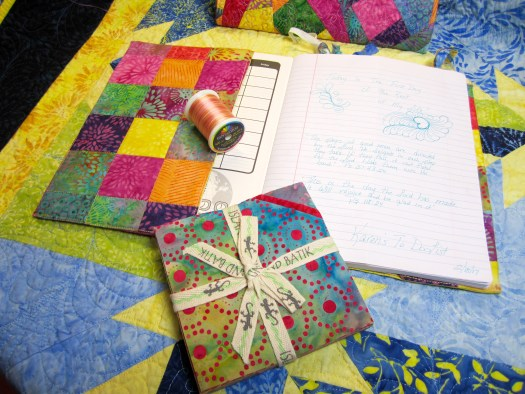Island Batik Sweet Nectar fabric makes colorful patchwork on the inside of a notebook cover