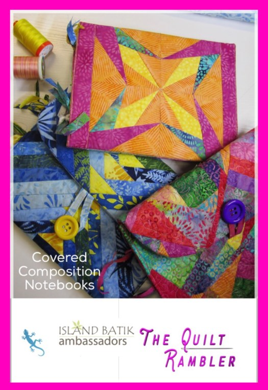 Photo for Pinterest showing three quilted fabric composition notebook covers