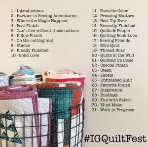 Instagram challenge for quilters to post daily in March