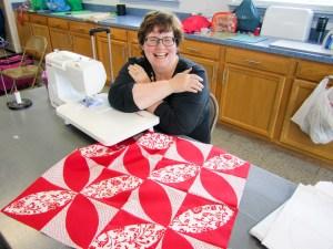 The beginnings of a beautiful large pillow top by quilting guild member Leah