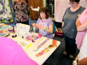 Karen Overton teaching her pattern Double Occupancy at a workshop