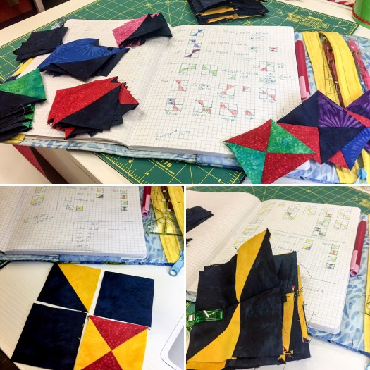 Following a graph paper design pieced units are combined to make blocks for the modern quilt