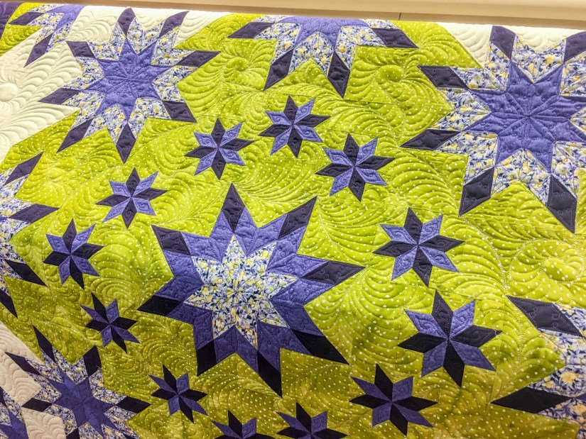 Hand guided longarm quilting by Karen Overton, quilt pattern by Deb Tucker