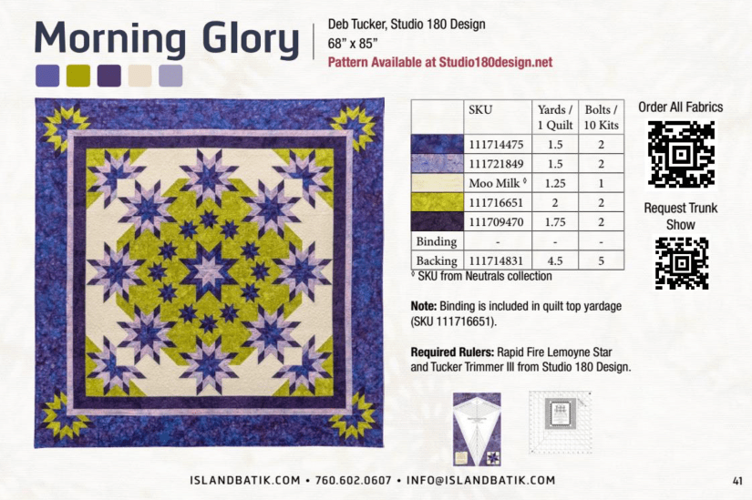 catalog page of island batik fabric spring 2017 offering of Morning Glory quilt pattern in their beautiful batik fabrics