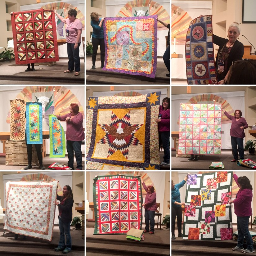A 9 patch collage of ladies showing their quilting projects
