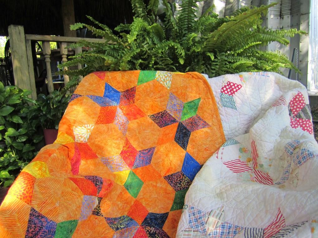 Vintage baby quilt with modern remake by Karen Overton