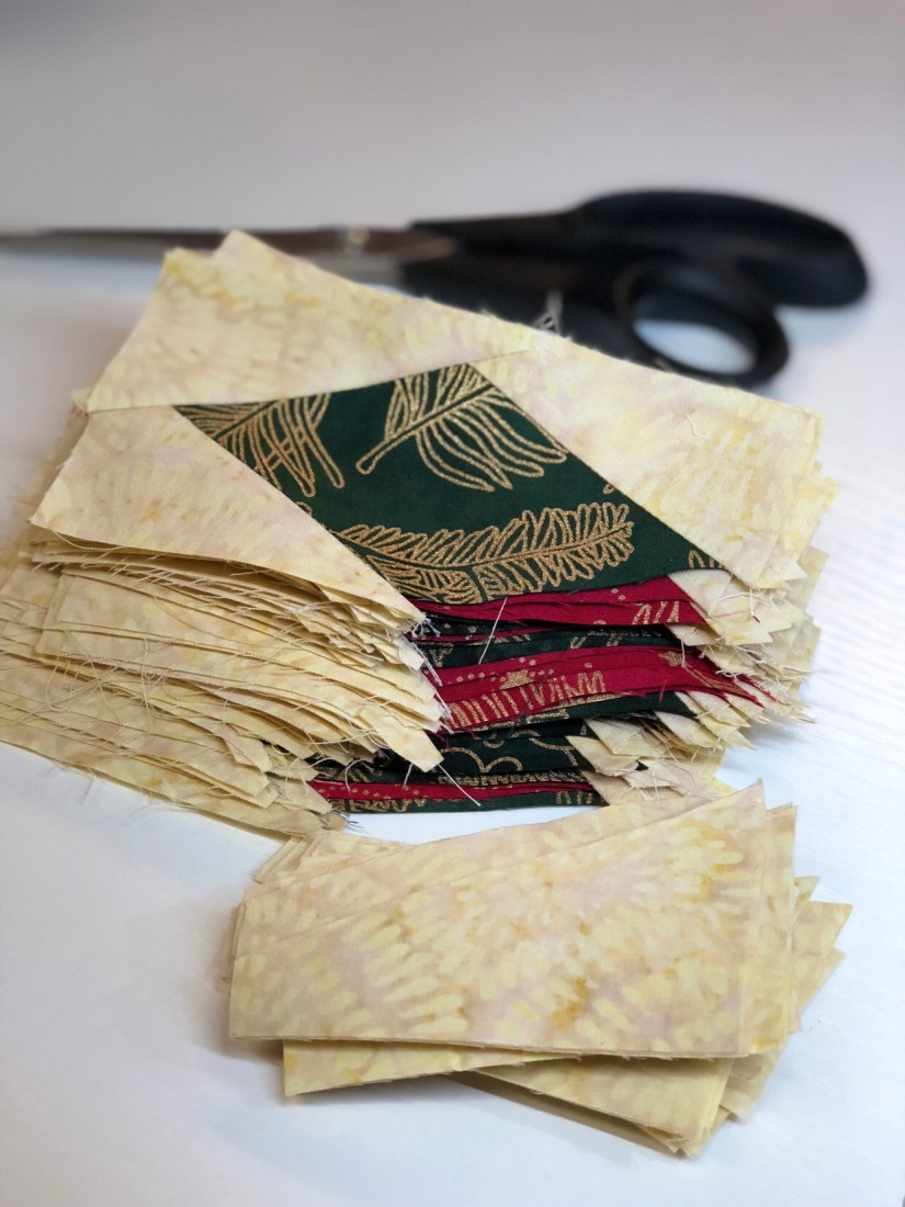 sewing diamond rectangle units