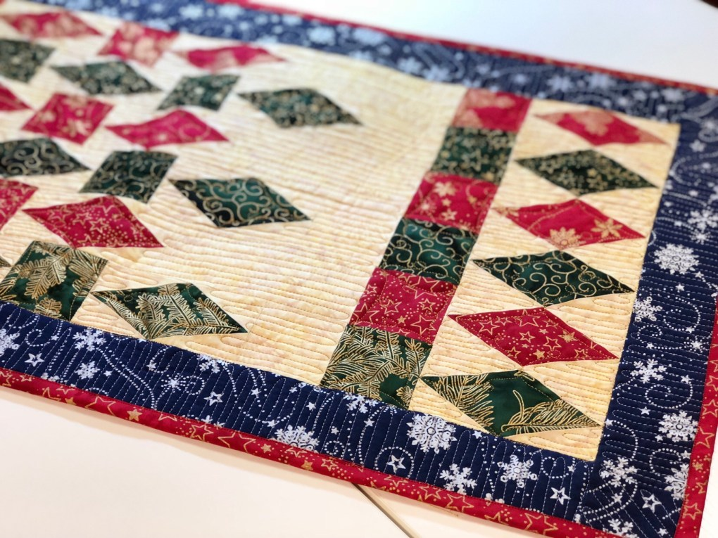 silver and gold quilting thread in a Christmas table runner