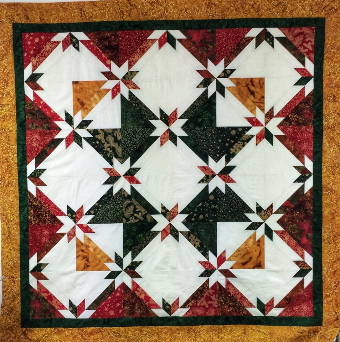 Hunter Star Christmas quilt made with Island Batik fabrics