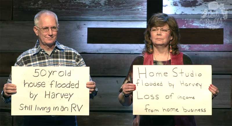 Cardboard Testimony 2018 Overton's flood by Hurricane Harvey