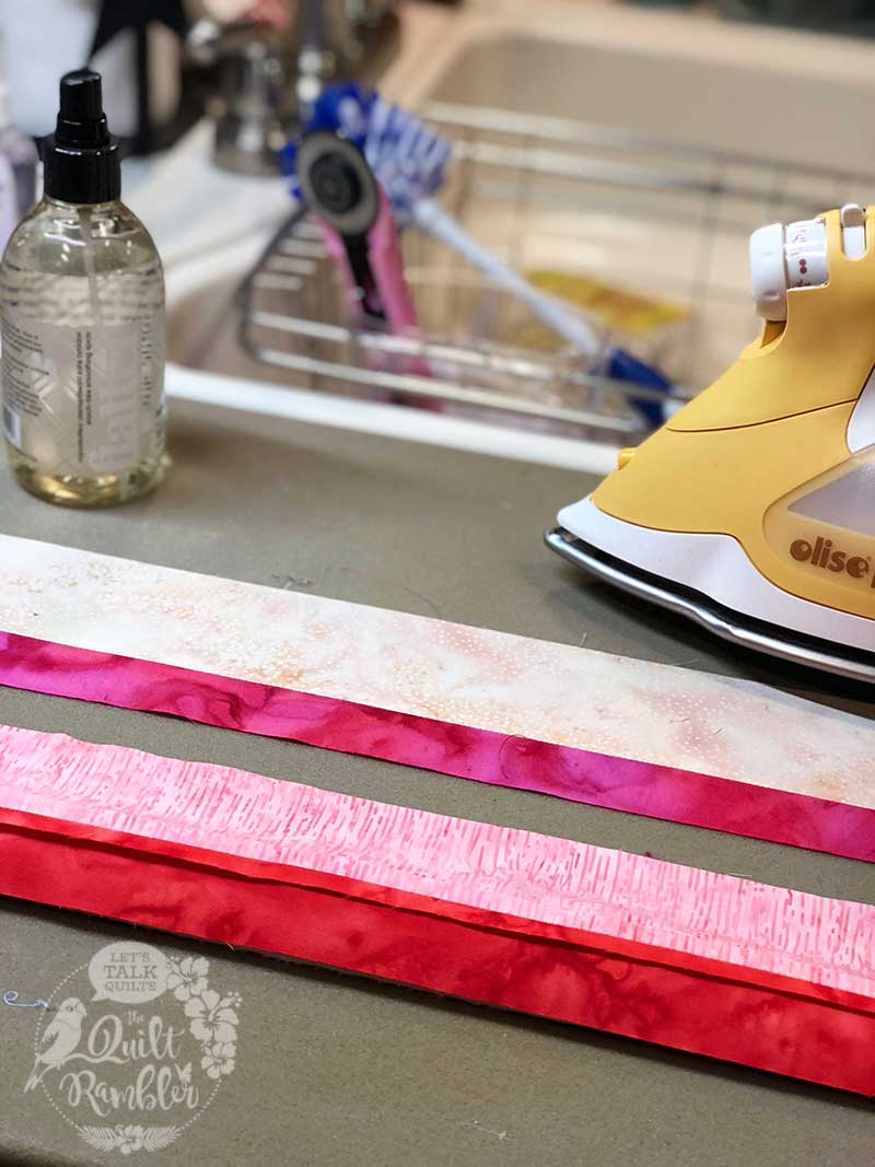 pretty in pink fabric and Olfa rotary cutter