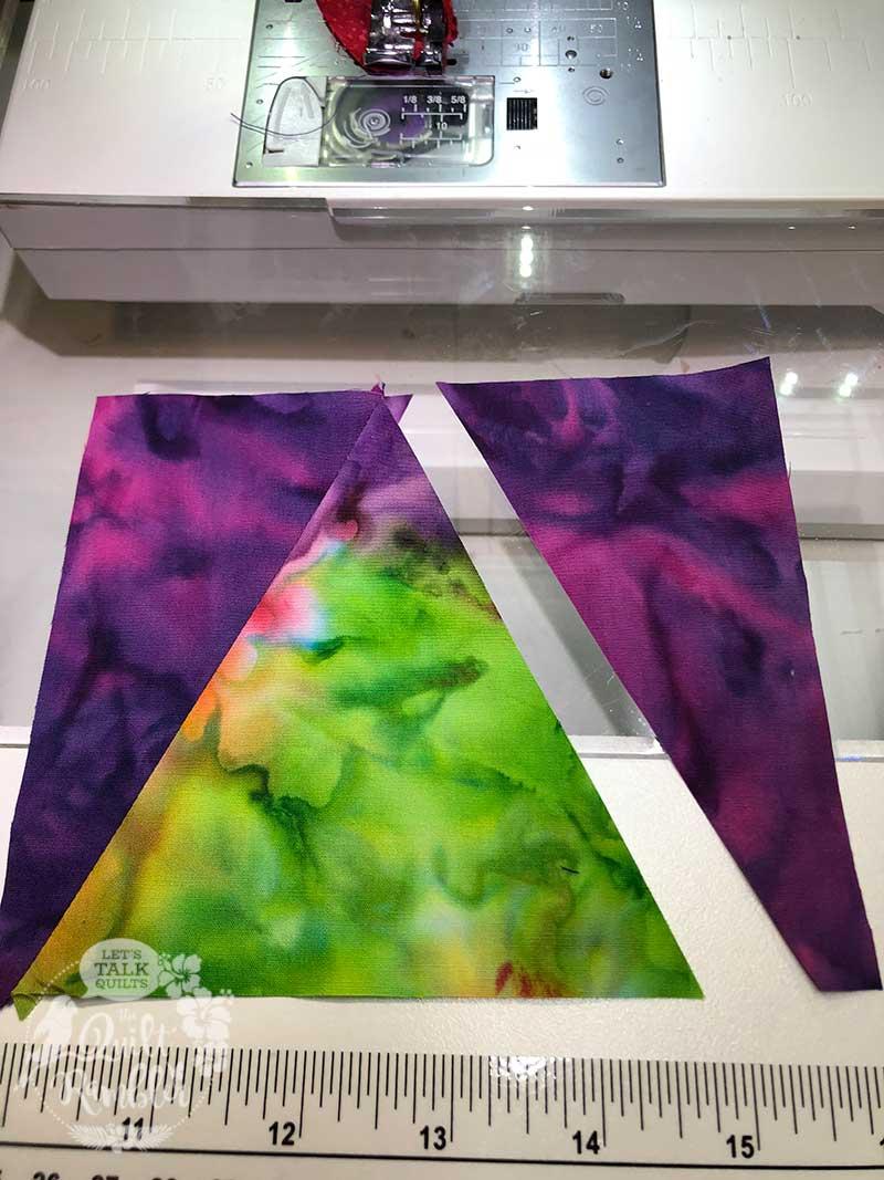Island Batik fabrics make colorful V block units