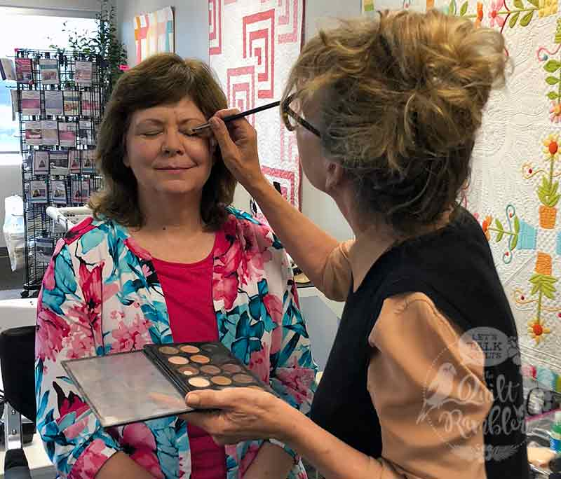 Karen Overton, The Quilt Rambler, getting make up prior to filming for Quilt It!